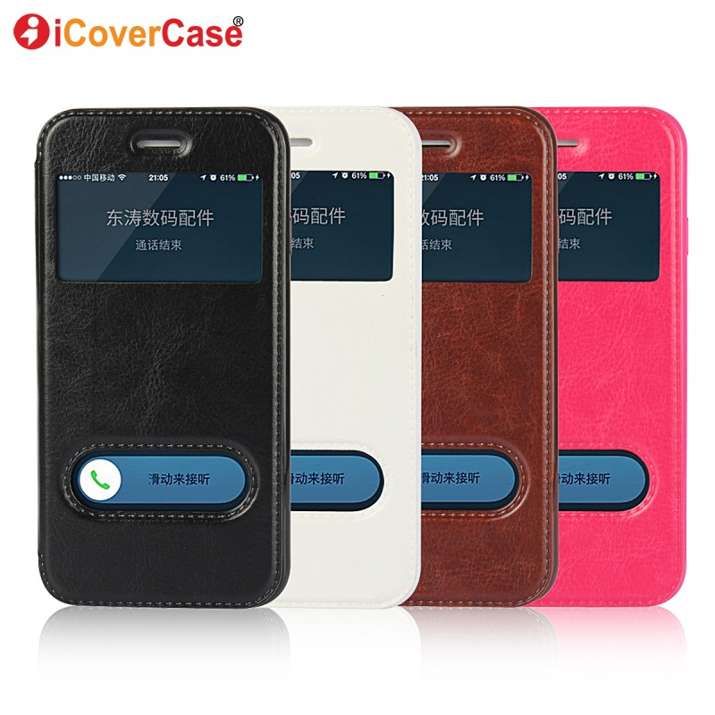 Flip Cover For iPhone X 8 7 6 Plus 5s 5 SE Window View Case Smart Leather Etui For iPhone 6 6s Plus Phone Bag Coque Funda Hoesje